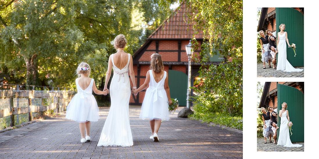 Hochzeitsbuchseite mit Braut und Blumenkindern - © Hochzeitsfotograf www.hochzeitsverliebt.de