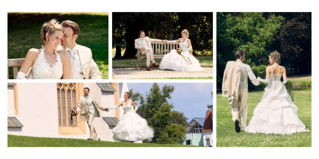 Hochzeitsalbum mit Brautpaar im Park - © Hochzeitsfotograf www.hochzeitsverliebt.de