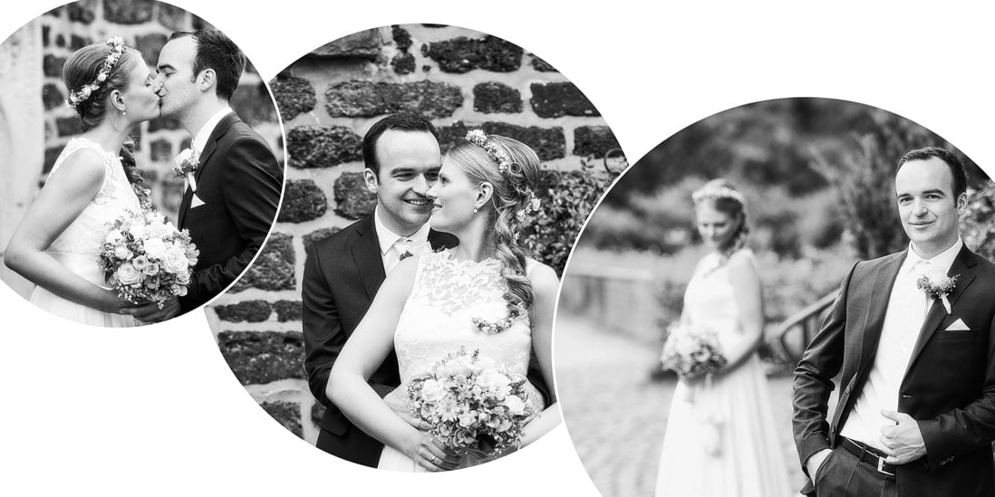 Hochzeitsfotobuch mit kreisförmigen Gestaltungselementen in schwarzweiss - © Hochzeitsfotograf www.hochzeitsverliebt.de