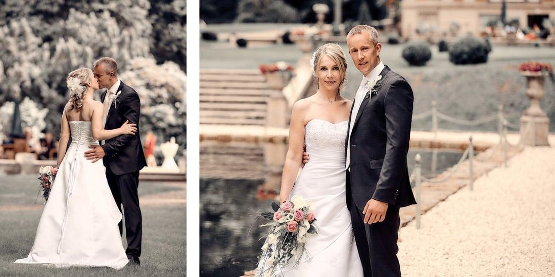 Fotobuch Hochzeit mit Bildern im Garten von Schloss Eldingen - © Hochzeitsfotograf www.hochzeitsverliebt.de