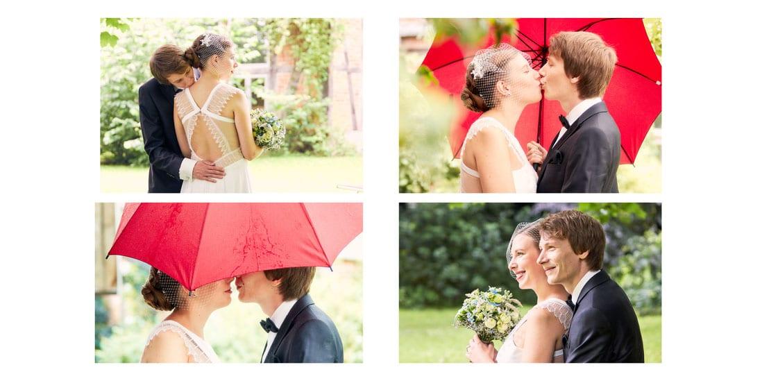 Hochzeitsbuch mit vier platzierten Fotos auf der Doppelseite - © Hochzeitsfotograf www.hochzeitsverliebt.de