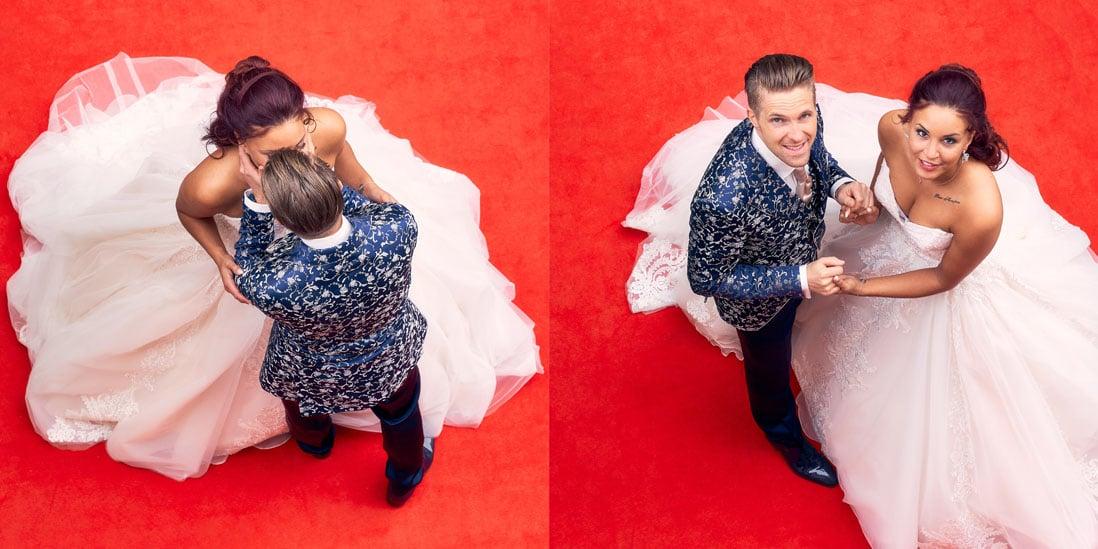 Hochzeitsalbum mit Brautpaar auf rotem Teppich als Titelbild über Vorderseite und Rückseite - © Hochzeitsfotograf www.hochzeitsverliebt.de