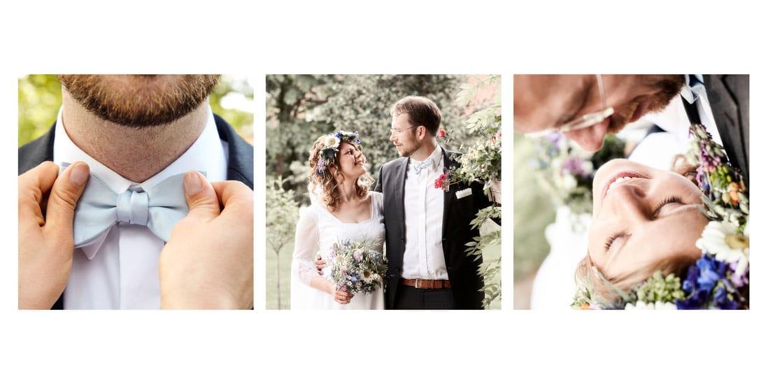 Innengestaltung Hochzeitsbuch mit drei Bildern vom Paar über zwei Seiten - © Hochzeitsfotograf www.hochzeitsverliebt.de