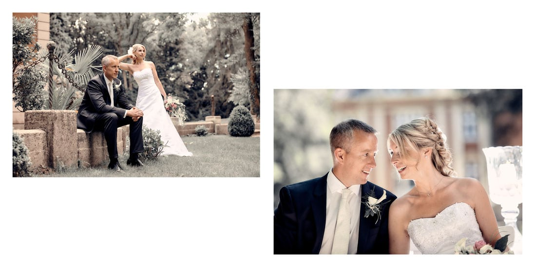 Hochzeitsfotobuch Gestaltungsbeispiel einer Doppelseite - © Hochzeitsfotograf www.hochzeitsverliebt.de