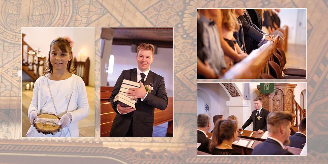 Hochzeitsfotobuch mit Kirchenornamenten als Hintergrund- © Hochzeitsfotograf www.hochzeitsverliebt.de