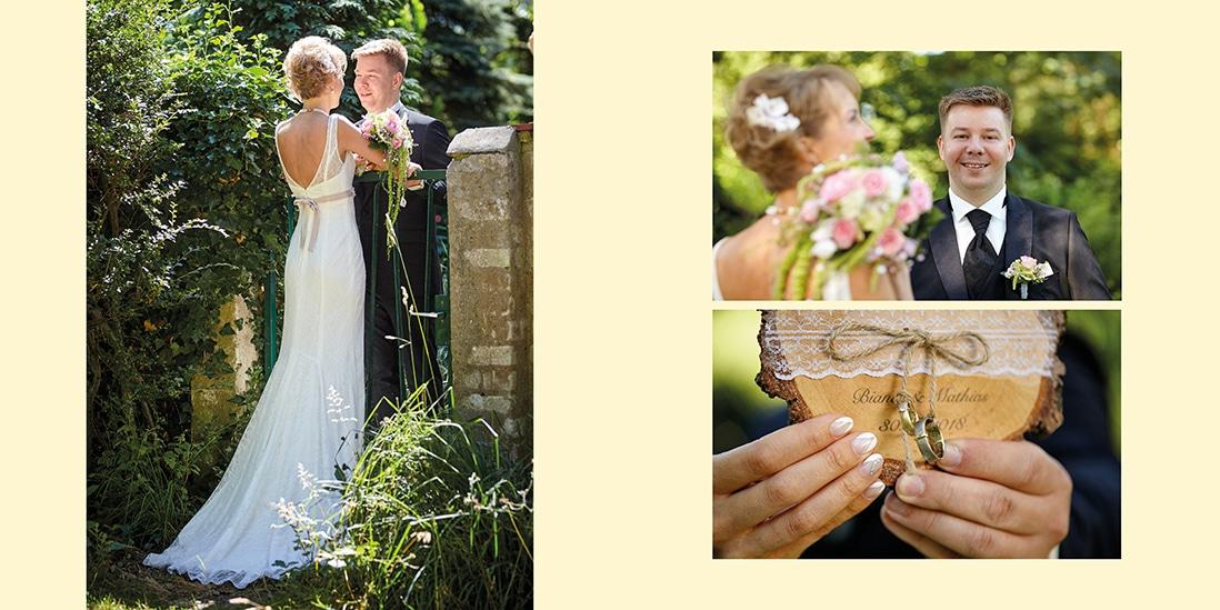Hochzeitsfotobuch innen mit gelbem Hintergrund gestaltet- © Hochzeitsfotograf www.hochzeitsverliebt.de