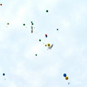 Bunte Ballons der Hochzeitsgesellschaft im weissen, leicht blauen Himmel - Standesamt Winsen Aller © Hochzeitsfotograf www.hochzeitsverliebt.de