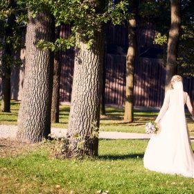 Brautpaar in weiss und dunkelblau spazierend als Rückansicht auf dem Hof der Location - Hof Wietfeldt Bennebostel © Hochzeitsfotograf www.hochzeitsverliebt.de
